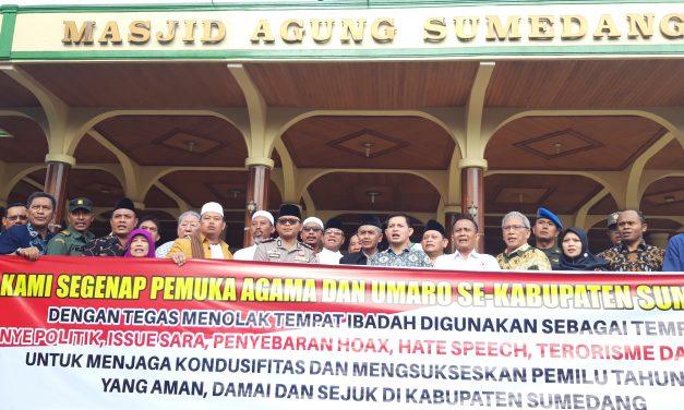 Ulama dan Umaro Sumedang Deklarasi Tolak Kampanye di Tempat Ibadah