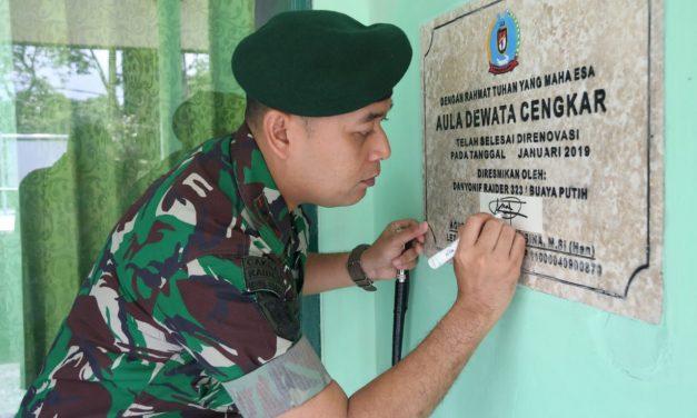 Danyon 323/BP Letkol Agust Resmikan Taman Pramodya dan Aula Dewata Cengar